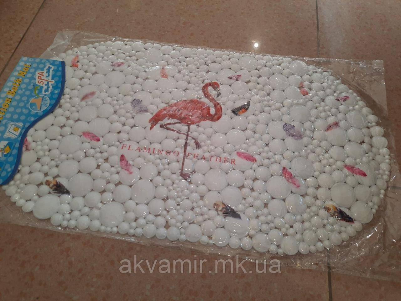 Килимок в ванну антиковзаючий Фламінго (білий)