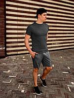 Футболка мужская летняя модная стильная темно-серая с полосками кантами