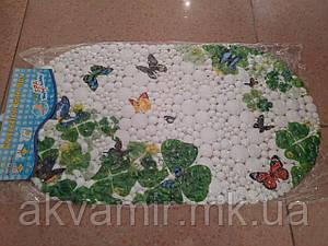 Коврик в ванну антискользящий Бабочки (белый)