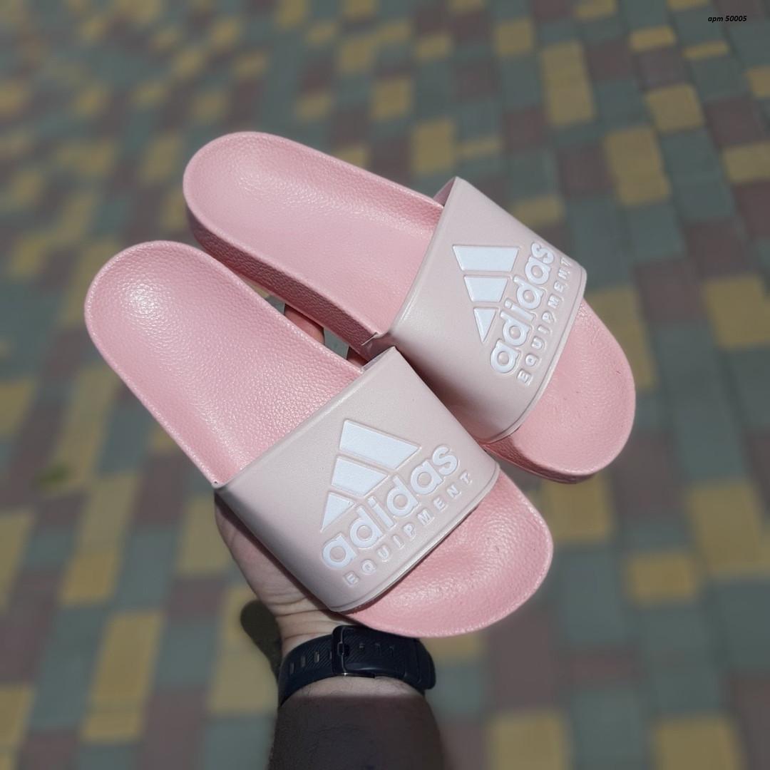 Женские шлепки Adidas на лето (розовые) 50005