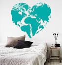 Наклейка на стену Карта мира сердцем (карта сердечком, любовь к путешествиям), фото 5