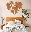 Наклейка на стену Карта мира сердцем (карта сердечком, любовь к путешествиям), фото 6
