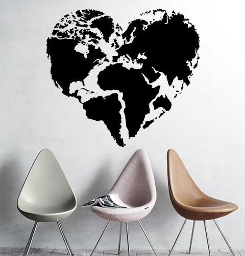 Наклейка на стену Карта мира сердцем (карта сердечком, любовь к путешествиям)