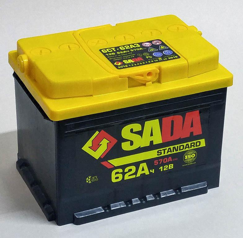 Автомобильный аккумулятор SADA Standard 6СТ-62 (+/-) сада стандард,12В, 62Ач, 570А