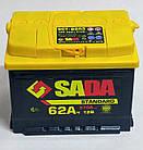 Автомобильный аккумулятор SADA Standard 6СТ-62 (+/-) сада стандард,12В, 62Ач, 570А, фото 3