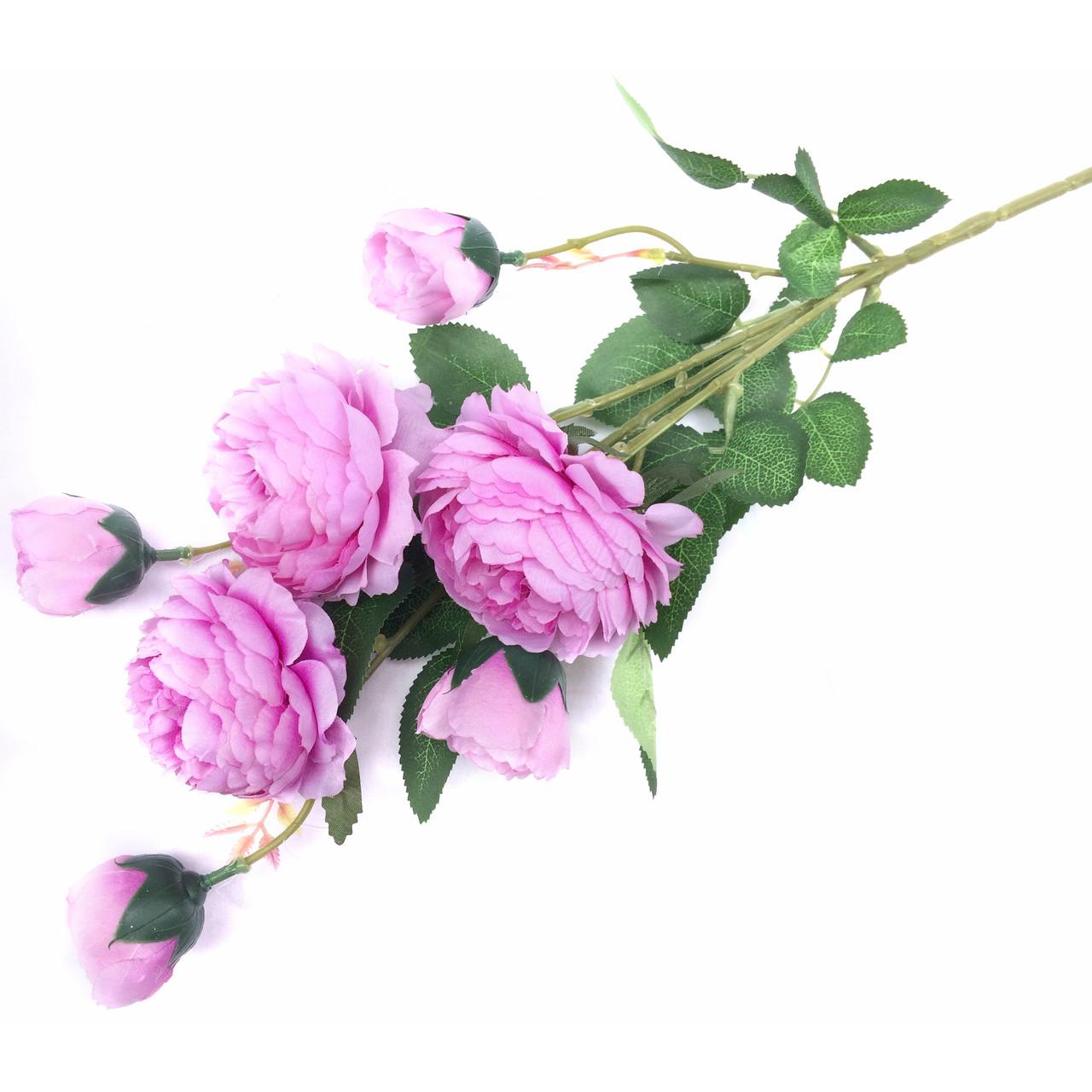 Ветка Роза пионовидная 7-ка 77 см.  сиреневый