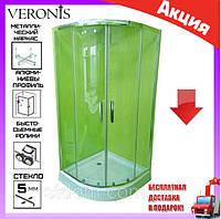 Душевая кабина полукруглая с низким поддоном 100х100 см Veronis KN-3-100 стекло прозрачное