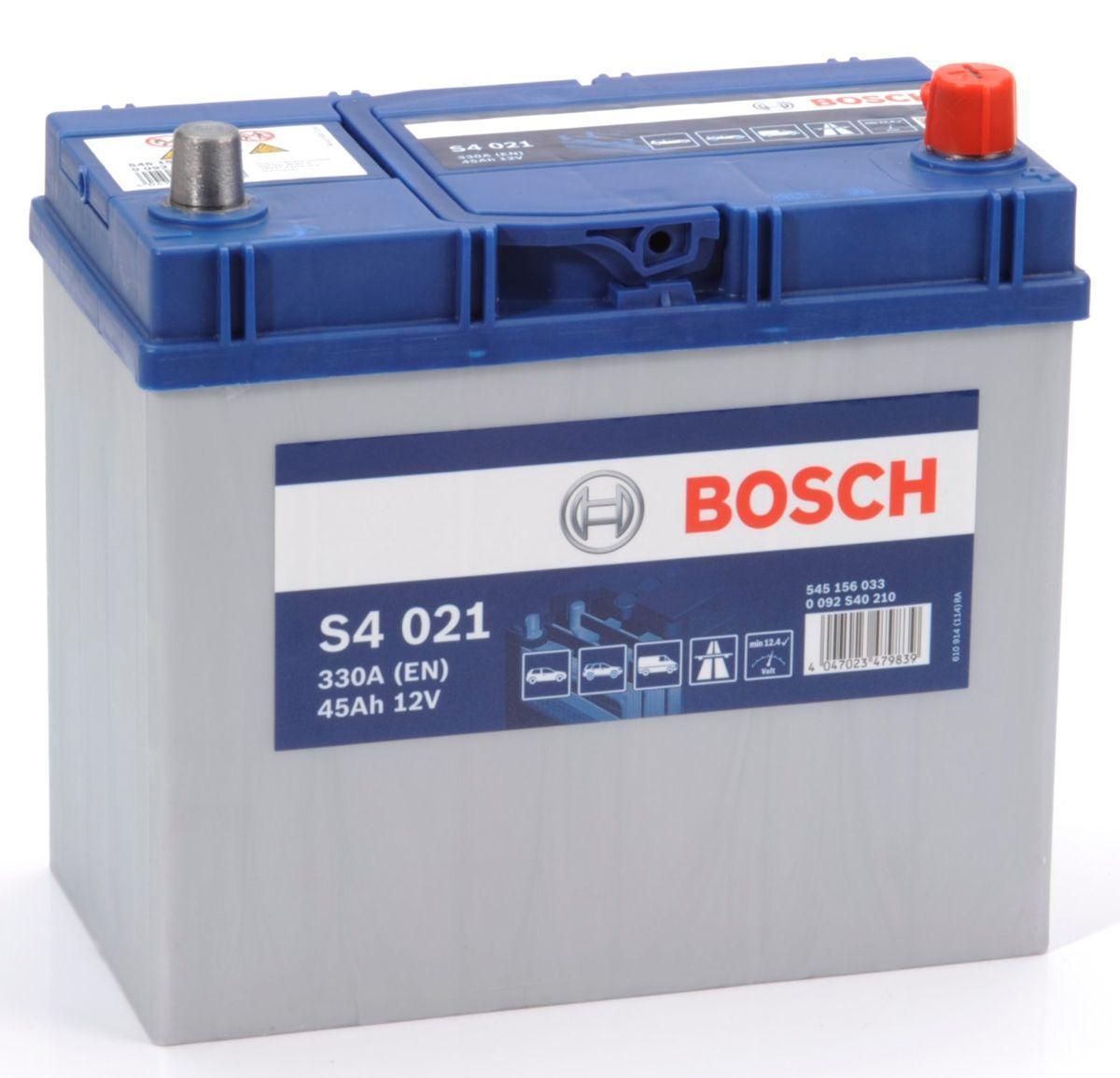 Аккумулятор 6СТ-45A Bosch Asia (S4021), 12V, 45Ah (-/+) Бош азия евро, 12В, 45Ач, EN330А