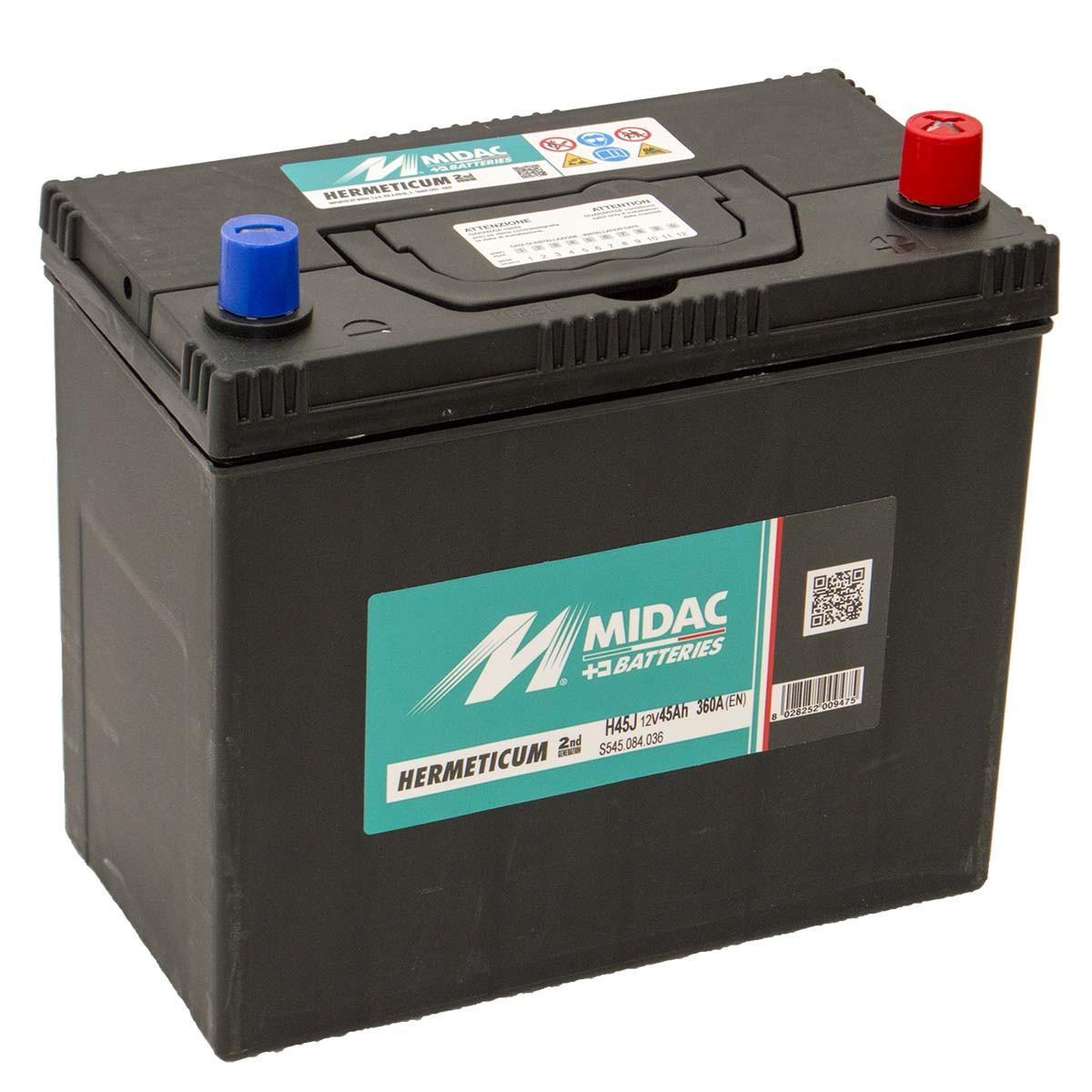 Аккумулятор 6СТ-45A MIDAC HERMETICUM Asia, 12V, 45Ah (-/+) евро, Мидак Герметикум азия, 12В, 45Ач, EN360А