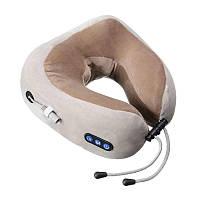 Подушка массажная для шеи U-Shaped Massage Pillow массажер для шеи Серый/Коричневый, фото 1