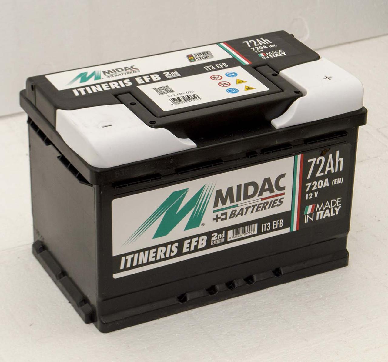 Аккумулятор 6СТ-72A MIDAC ITINERIS EFB START STOP, 12V, 72Ah, R Мидак Итинерис, 12В, 72Ач, EN720А