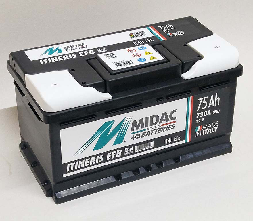 Аккумулятор 6СТ-75A MIDAC ITINERIS EFB START STOP низкий, 12V, 75Ah, R Мидак Итинерис, 12В, 75Ач, EN730А