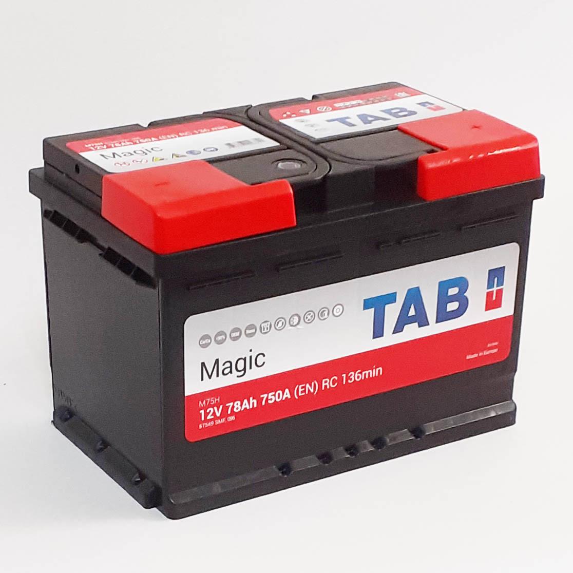 Аккумулятор  автомобильный AB MAGIC 6СТ-78Aч 12V EN750А Словения 2 года гарантии