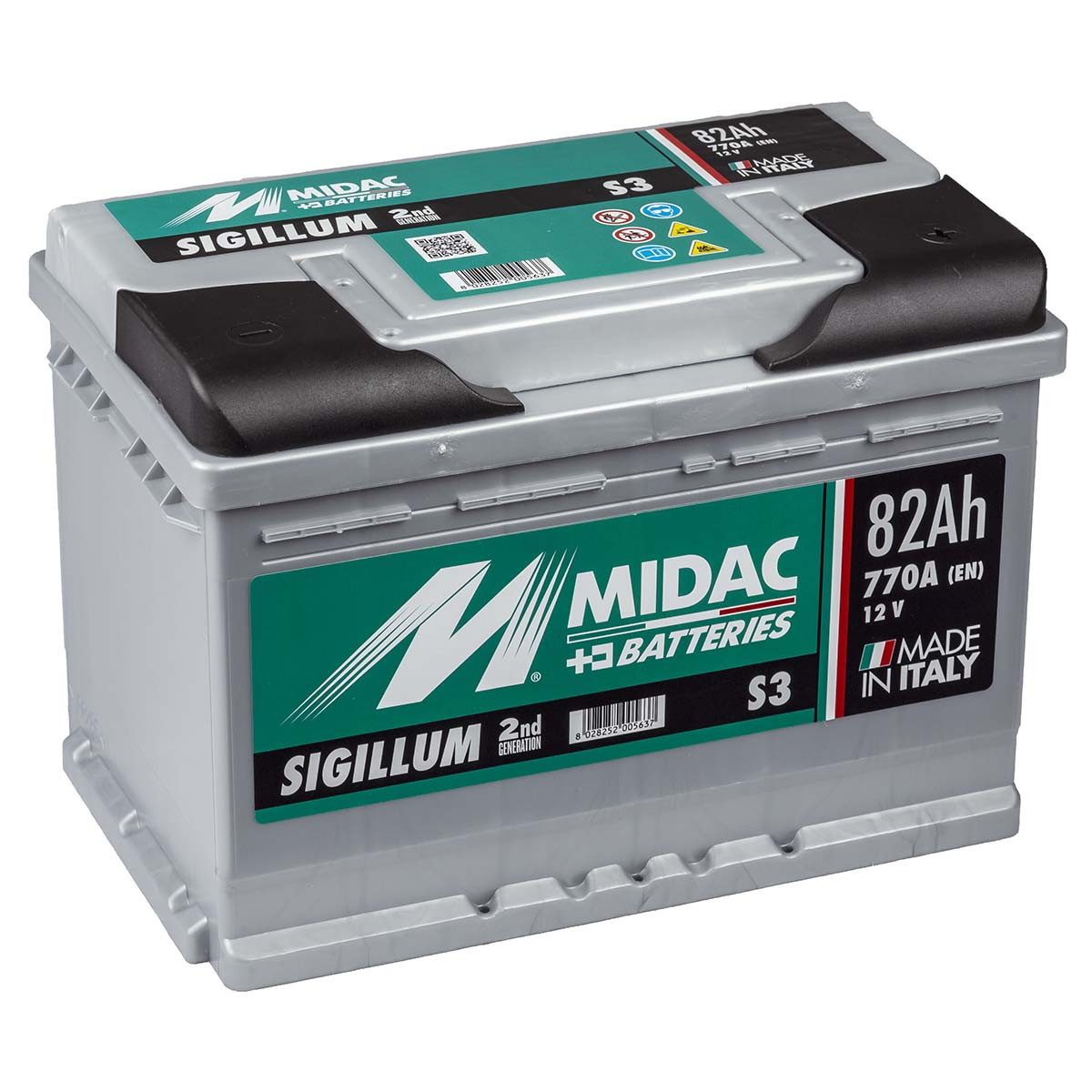 Автомобильный аккумулятор MIDAC S3 SIGILLUM 12 V 6СТ-82 Ah R+ АзЕ 770A Италия