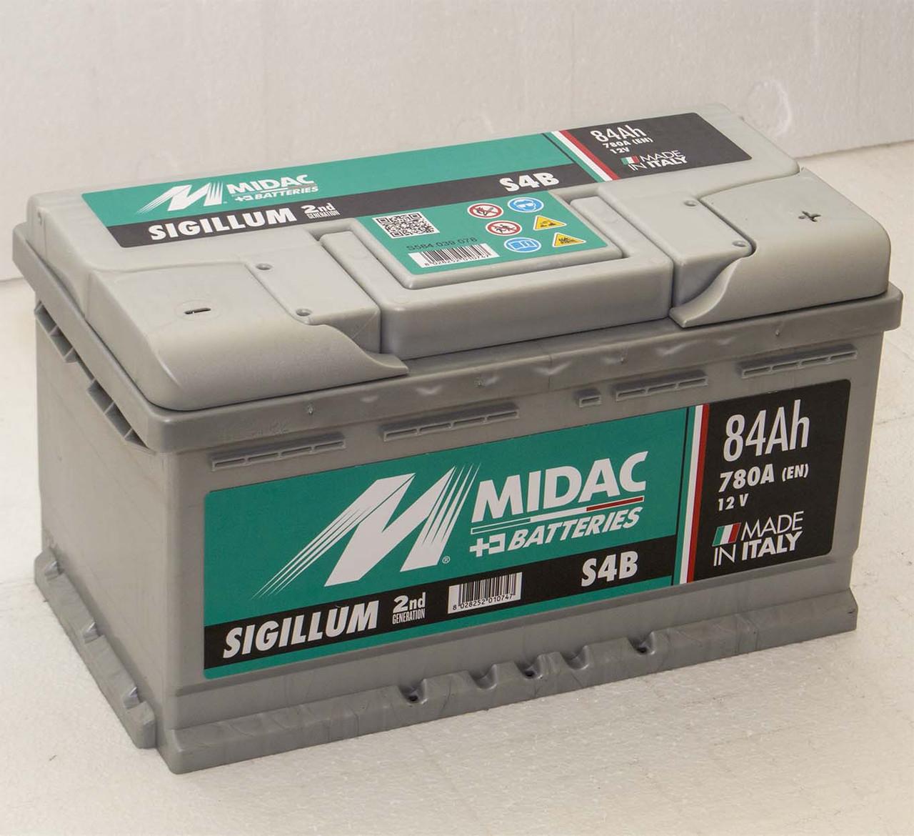 Аккумулятор 6СТ-84A MIDAC S4B Sigillum 12V, 84Ah (-/+) низкий евро Мидак Сигиллум, 12В, 84Ач, EN780А