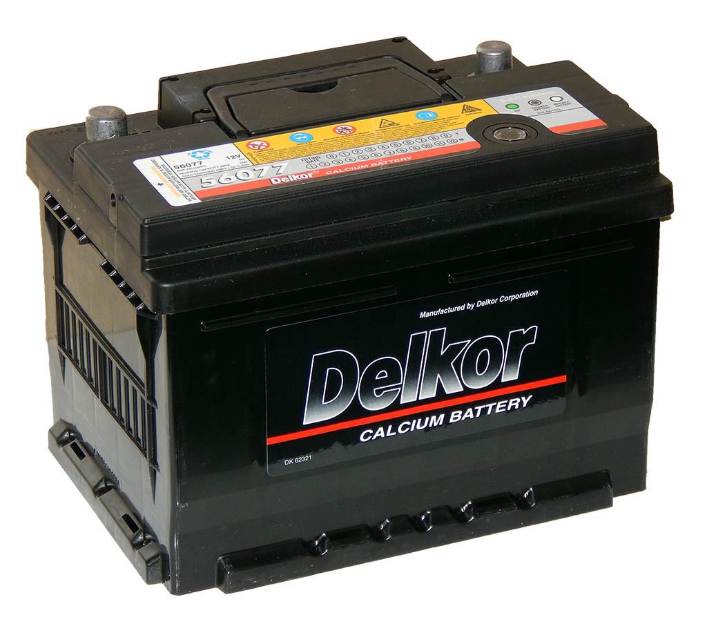 Аккумулятор Delkor 6СТ-60 низкий ( R+ правый плюс)