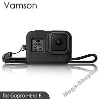 Силиконовый защитный чехол с ремешком для экшн камеры гопро GoPro Hero 8 Black Черный