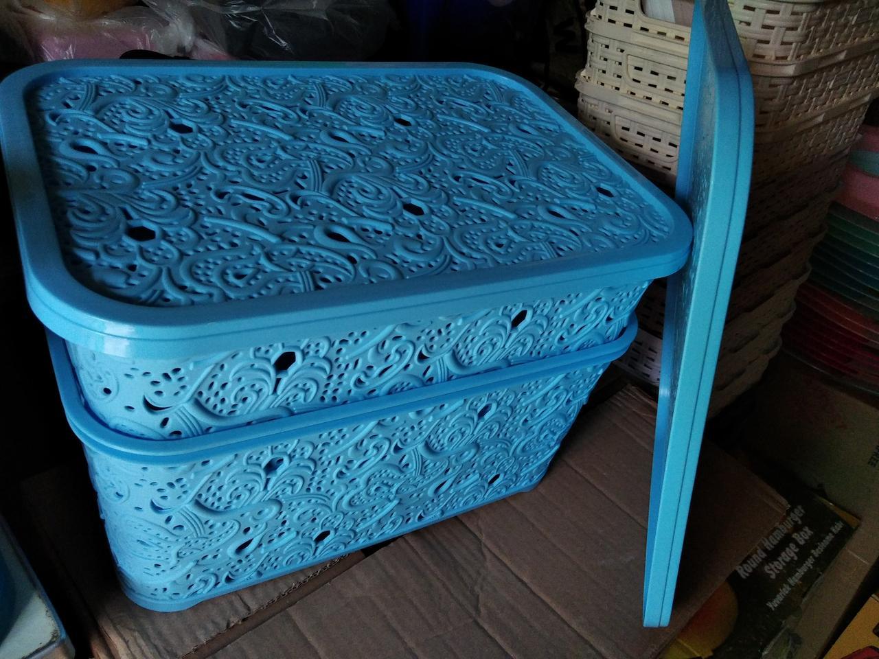 Корзина Ажур с крышкой 10 л для хранения Elif Турция голубой васильковый