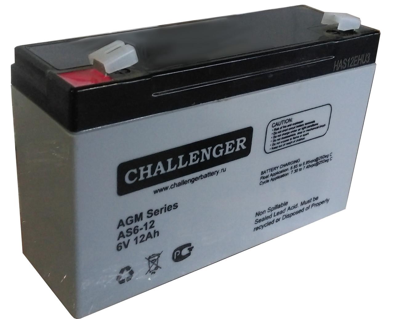 Аккумуляторная батарея Challenger AS6-12, 6В, 12Ач
