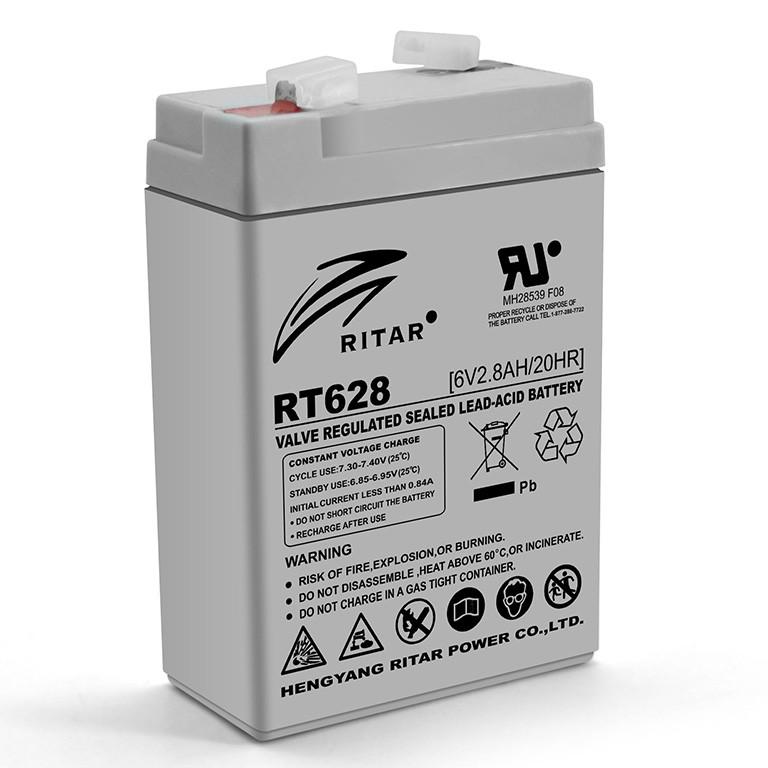 Батарея аккумуляторная RITAR RT628, 6В, 2,8Ач