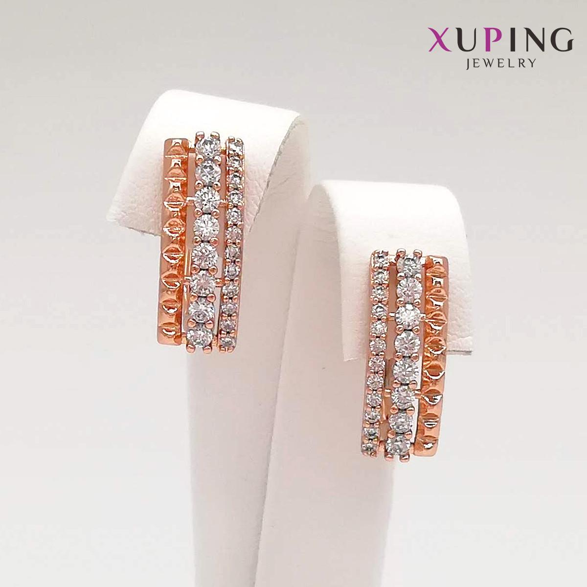 Серьги Xuping, размер 18х6 мм, белые фианиты (куб. цирконий), вес 3 г, позолота PO, ХР00817 (1)