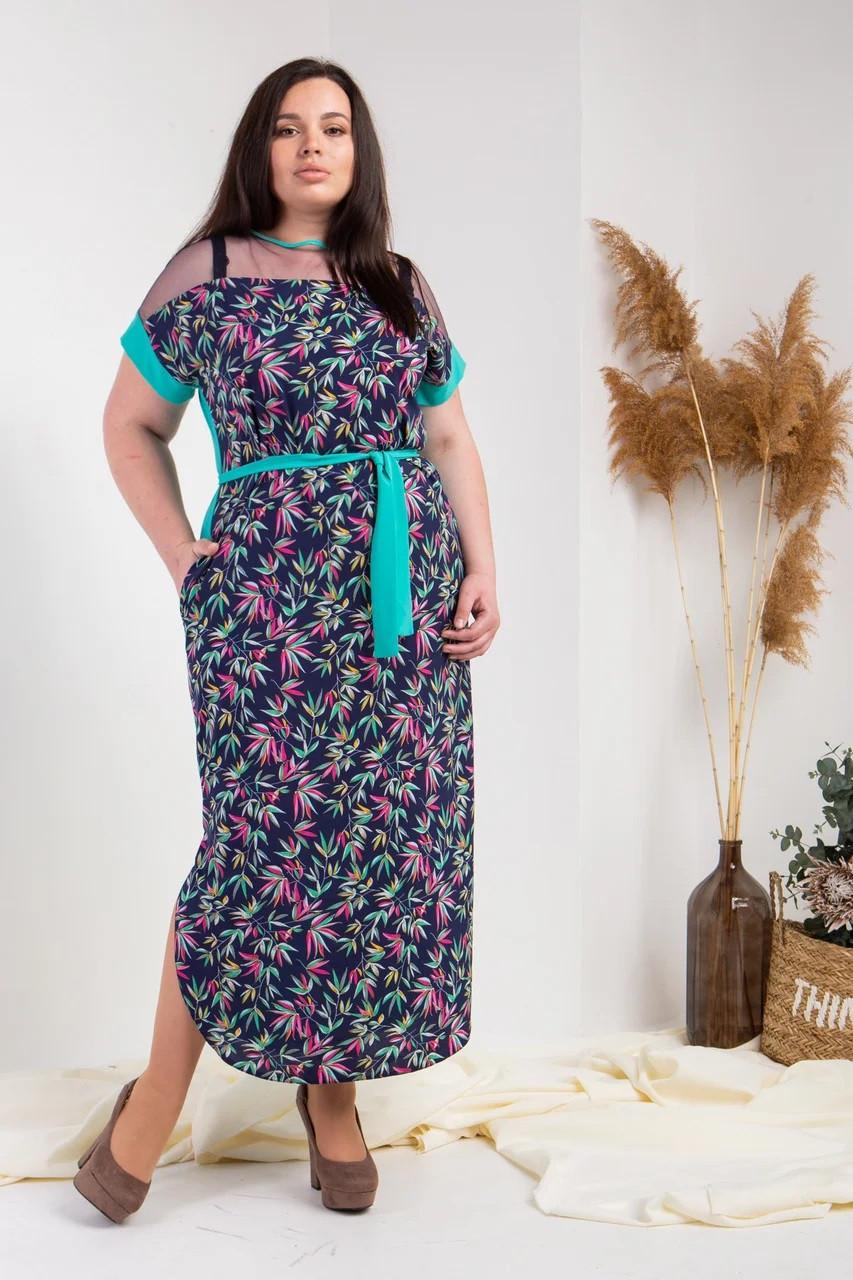 Летнее платье с принтом бирюзовое