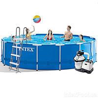 Каркасный бассейн Intex 28242 - 6 New, 457 x 122 см (4 500 л/ч, лестница, тент, подстилка)