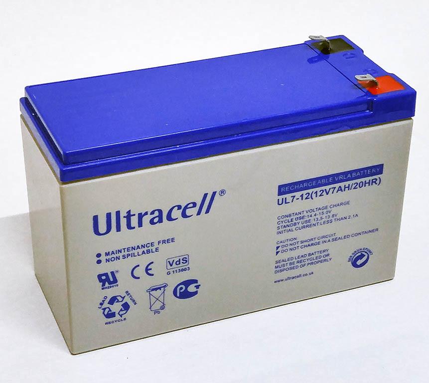 Батарея аккумуляторная Ultracell UL7-12, 12В, 7Ач, AGM