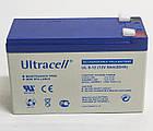 Батарея аккумуляторная Ultracell UL9-12, 12В, 9Ач, AGM, фото 2