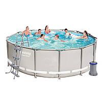 Каркасный бассейн Bestway 56641, 427 x 107 cм (3 028 л/ч, дозатор, лестница, тент, подстилка)