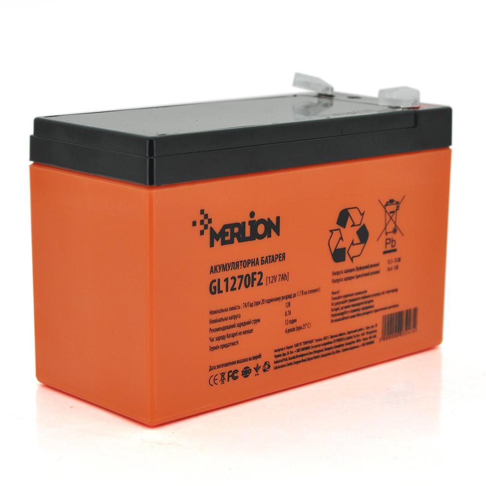 Аккумуляторная батарея MERLION GL1270F2 12 V 7Ah ( 150 x 65 x 95 (100) Orange гелевая