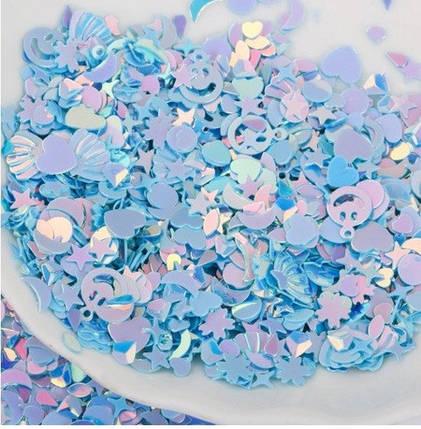 Блестки голубые для слаймов (50548), фото 2