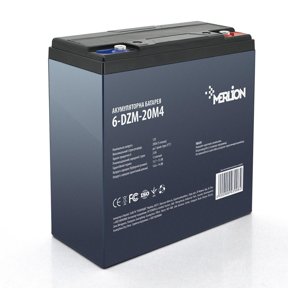 Тяговая аккумуляторная батарея AGM MERLION 6-DZM-20 M5 (181х77х167), 12В, 20Ач
