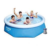 Надувной бассейн + картриджный фильтр Bestway 57268, 244 х 66 см (1 250 л/ч)