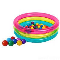 Детский надувной бассейн Intex 48674, 86 х 25 см, с шариками (50 шт.)