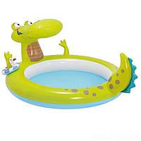 Детский надувной бассейн Intex 57431 «Крокодил», 198 х 160 х 91 см, с фонтаном