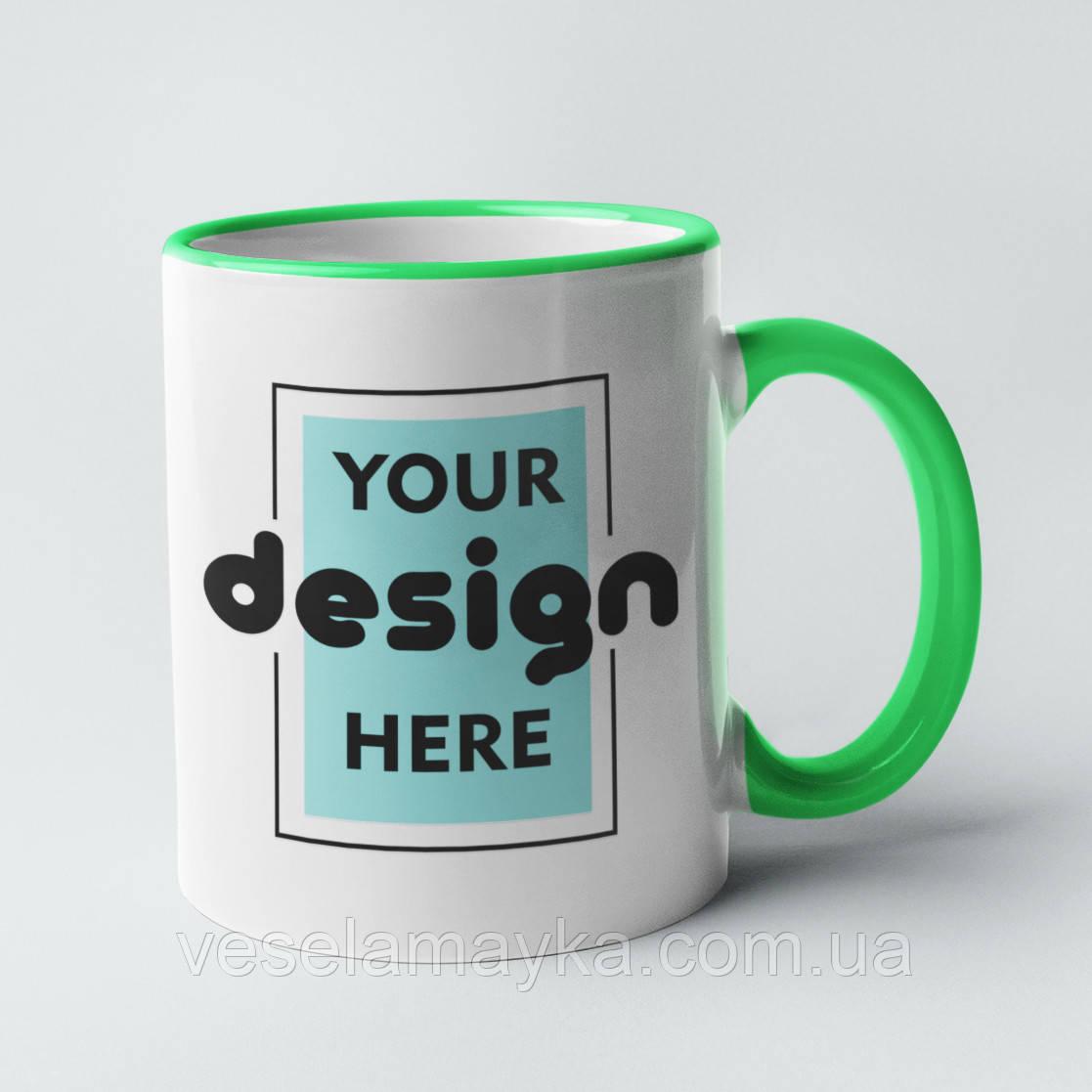 """Чашка з фото З зеленою окантовкою (310мл)"""""""