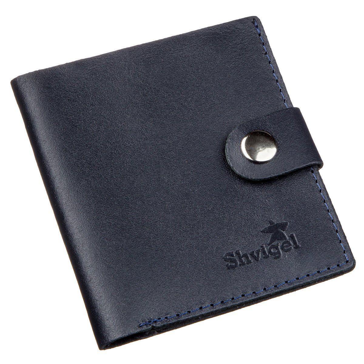 Недорогое портмоне вертикальное мужское кожаное SHVIGEL 16220 Синее