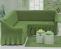 Чехол на угловой диван зелёный Турция