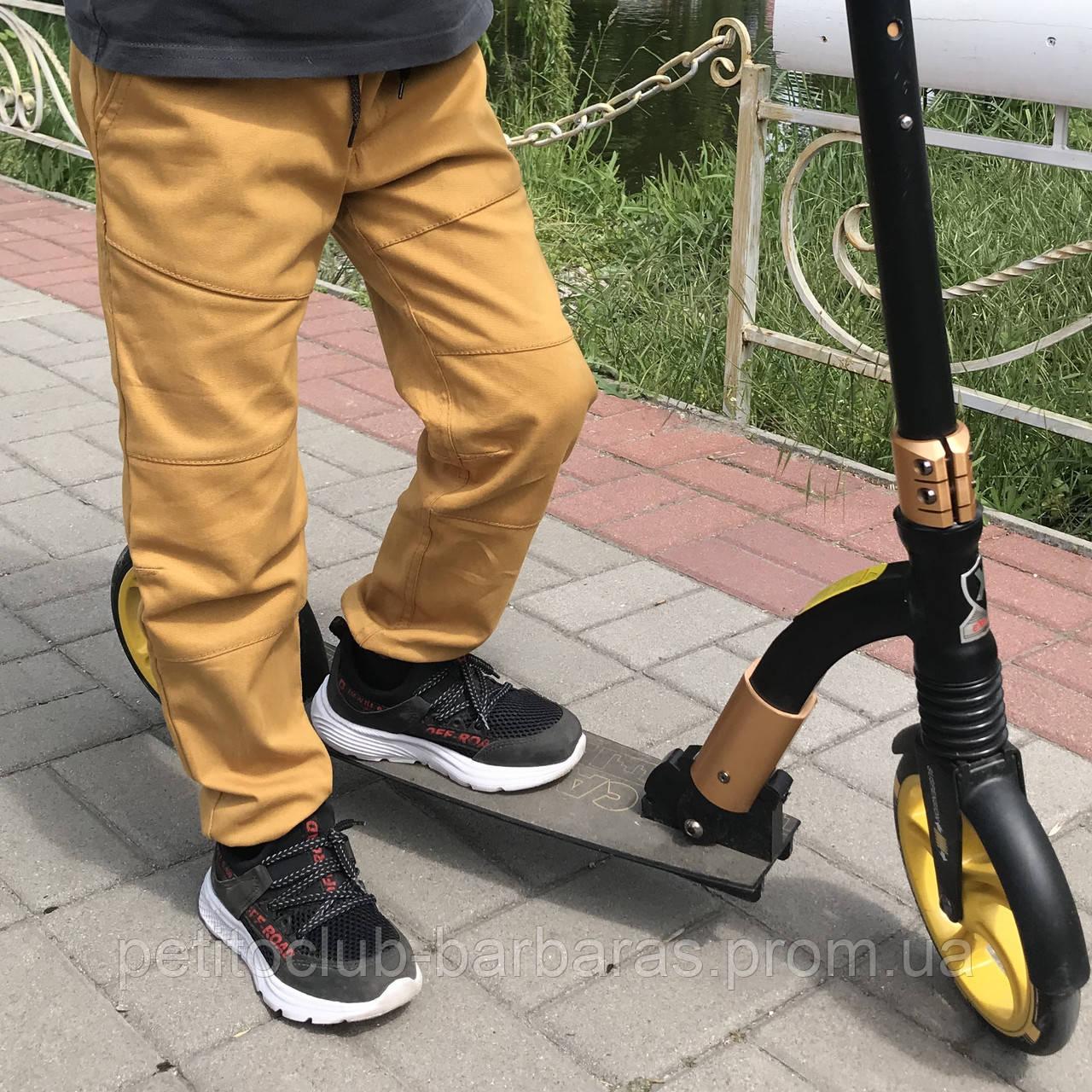 Детские летние хлопковые брюки джоггеры для мальчика желто-коричневые (р.122-140 см) (KIT-Lime, Украина)