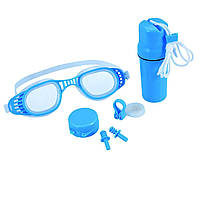Набор 3 в 1 для плавания Bestway 26002 (очки: размер M, (6+), обхват головы ≈ 52 см, беруши, клипса для носа, колба), синий