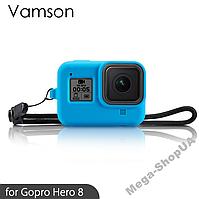 Силиконовый защитный чехол с ремешком для экшн камеры гопро GoPro Hero 8 Black Синий
