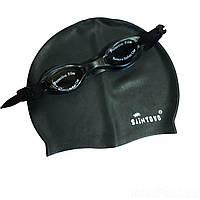 Набор 2 в 1 для плавания IntexPool D25637 (очки: размер M, (6+), обхват головы ≈ 52 см, шапочка 22 х 19 см), черный