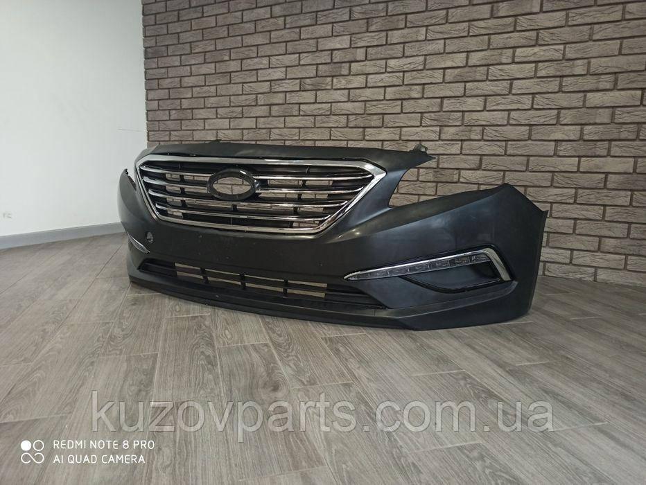 Бампер передний в сборе Led туманки Hyundai sonata 2015 2016 2017