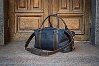 Спортивная синяя мужская сумка, Сумка дорожная кожаная стильная