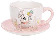 Чашка с блюдцем керамические 240мл с объемным рисунком Веселый кролик BonaDi DM141-E