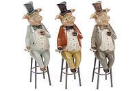 Декоративная фигурка Свин на стуле, 3 вида, 21см BonaDi 218-511