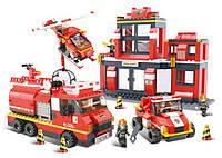 Конструктор SLUBAN M38-B0226 пожежна частина, машинки, фігурки, 693 дет., кор., 52-38-7,5 см