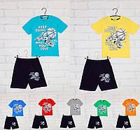 Костюм летний для мальчика : футболка с коротким рукавом+шорты, с рисунком (Keep doing), ПАК/(110-128) 4 шт, ERNES