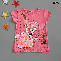 """Футболка """"Фламинго"""" для девочки. 86-92;  98-104;  110-116;  122-128 см, фото 1"""